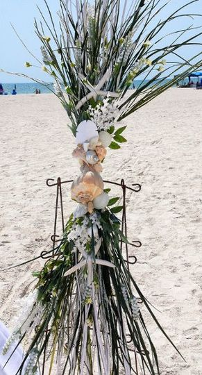 Beachy Wreaths alter spray of silk sea grasses, shells from the stunning beaches of Florida and...