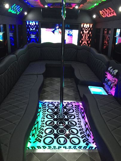 Party bus interiors with pole