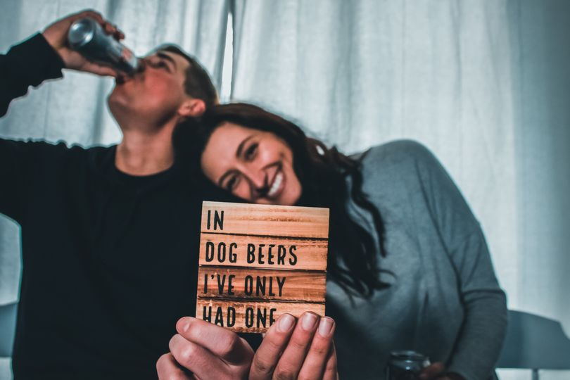 Beer engagement photo