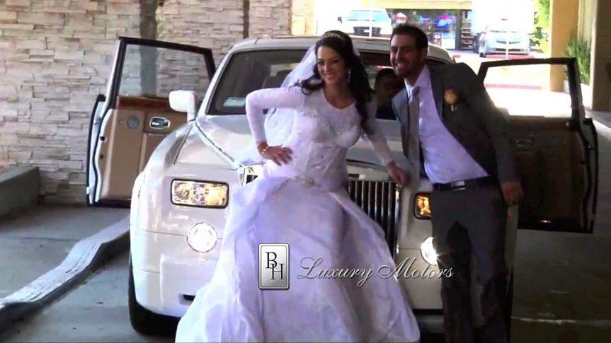 BrideGroomBHRollsRoycesmiling