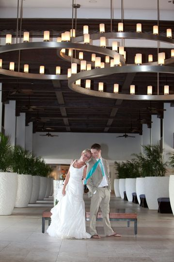 This couple loved the lobby of their destination wedding at the Hyatt Grand in Aruba in the...
