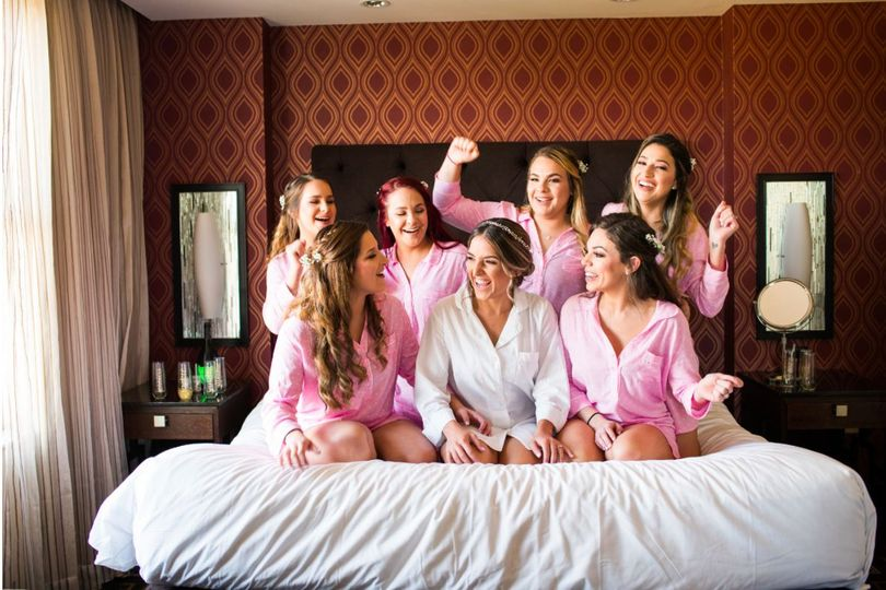 Bride and bridesmaids in the room