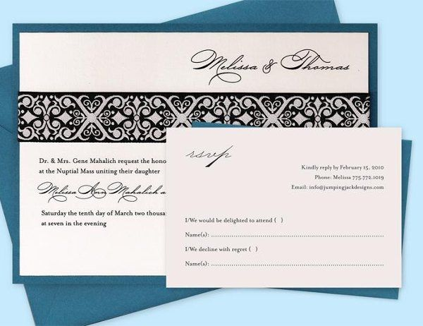 { JACQUARD INVITATION ~ BLUE }  • Printed on 88# white cover stock • Mounted on 80# blue cover...
