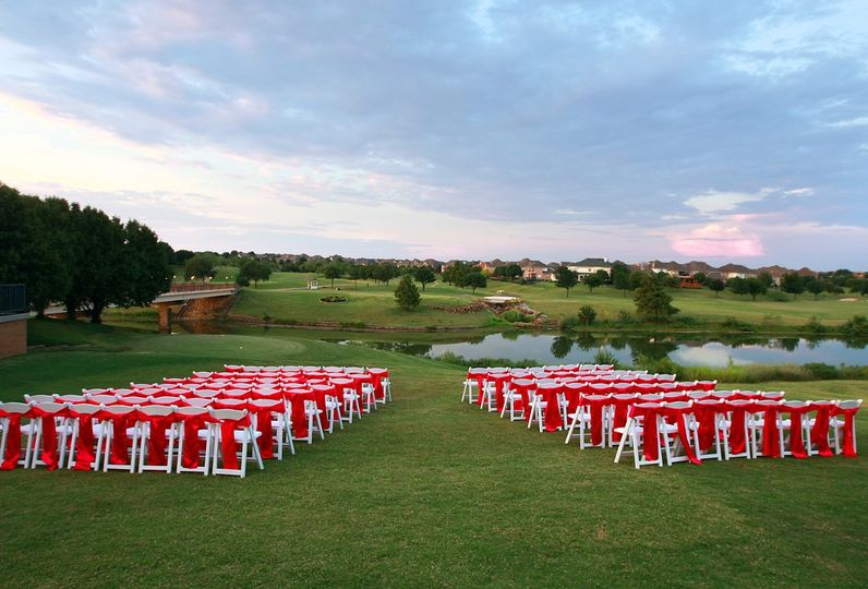 Ceremony setup on course grounds
