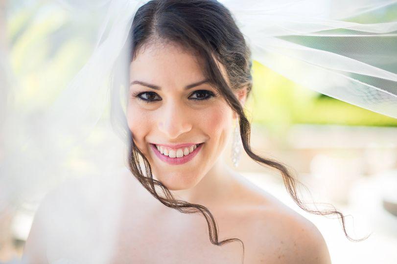 Bride smiling at camera