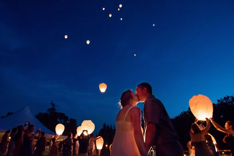 Magical lanterns above couple