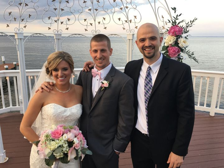 The couple and the officiant