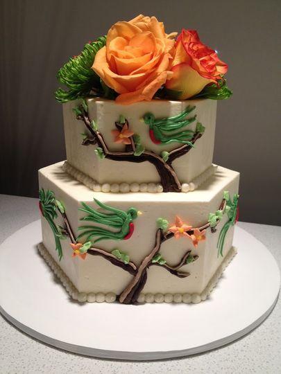 Hexagonal cake with flowers