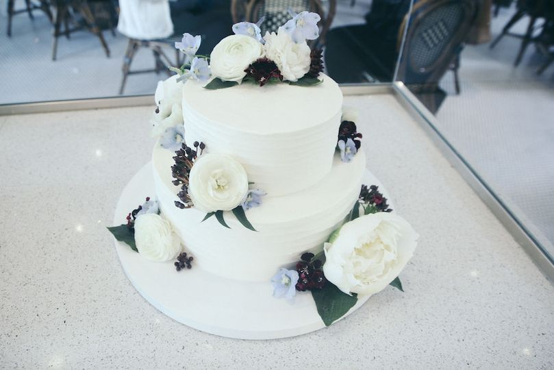 Two tiered cake with  flowers