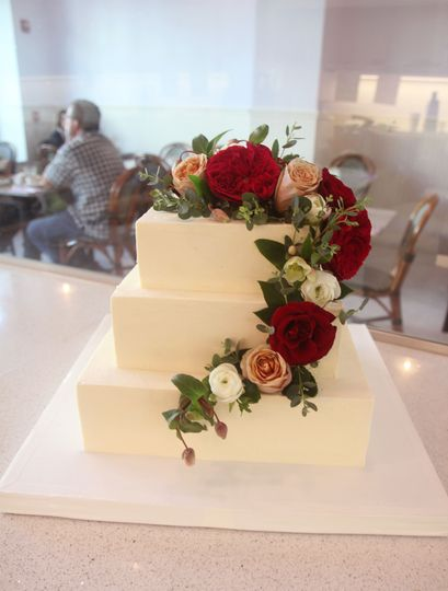 Square cake cascading flowers