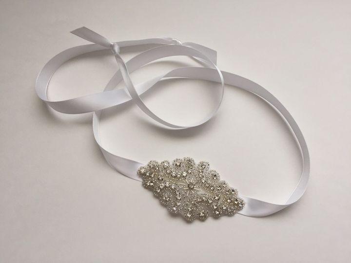 white bridal crystal beaded satin tie headband bc0
