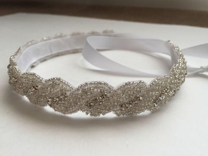 white bridal crystal twist satin tie headband bc01
