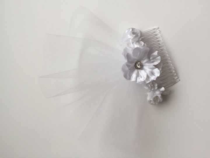 white bridal floral tulle hair comb