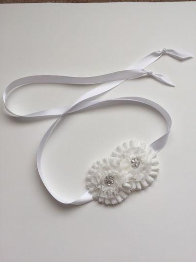 white bridal satin vintage floral tie ribbon head