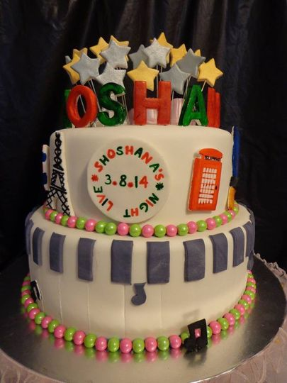 Bat-Mitzvah Cake Hand-Sculpted And Hand-Painted Fondant Decorations