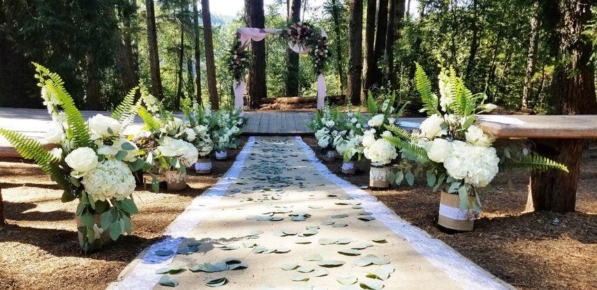 Wooded wedding aisle, eucalypt