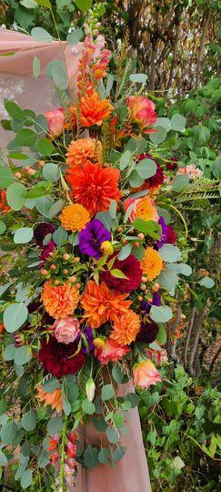 Bright Arch floral, orange plu