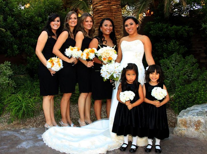 The bride with bridesmaids and flower girls
