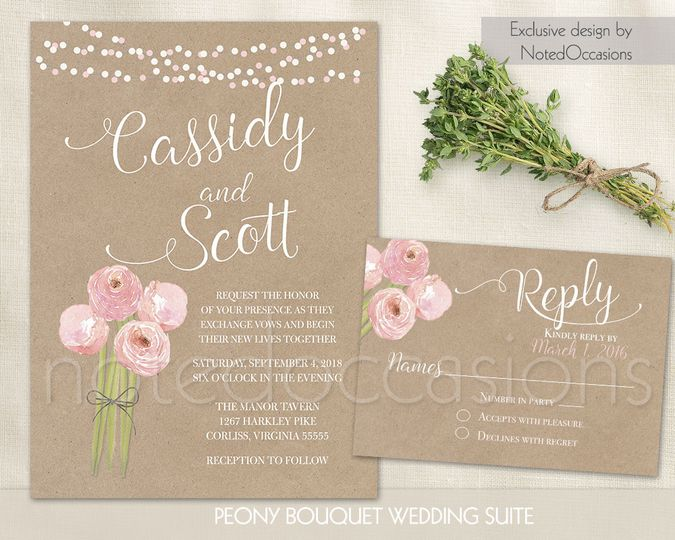 Kraft wedding invitation and rsvp printable Digital wedding invitation kraft paper Rustic wedding...
