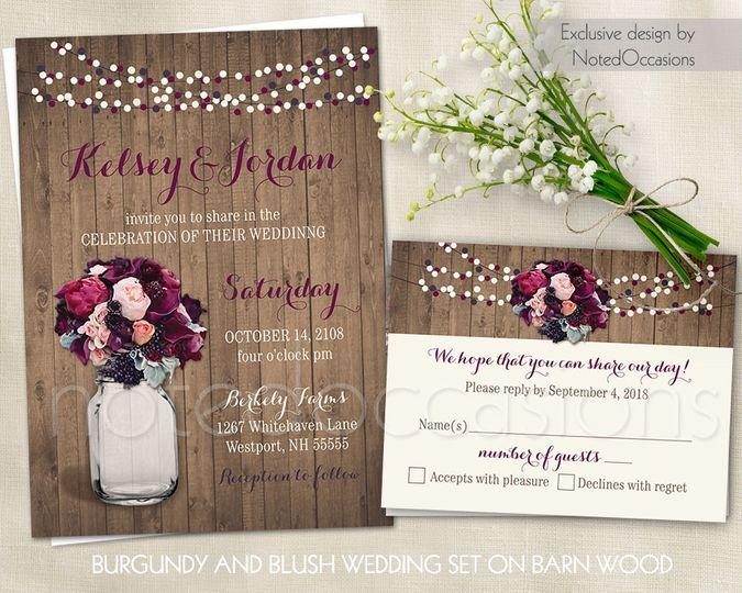Rustic wedding invites burgundy mason jar wedding invitation burgundy flowers wedding invitation...