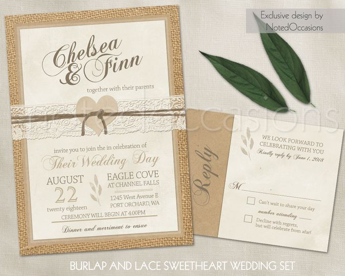 Printable Burlap and lace wedding invitations which are rustic and beautifully romantic. The wedding...