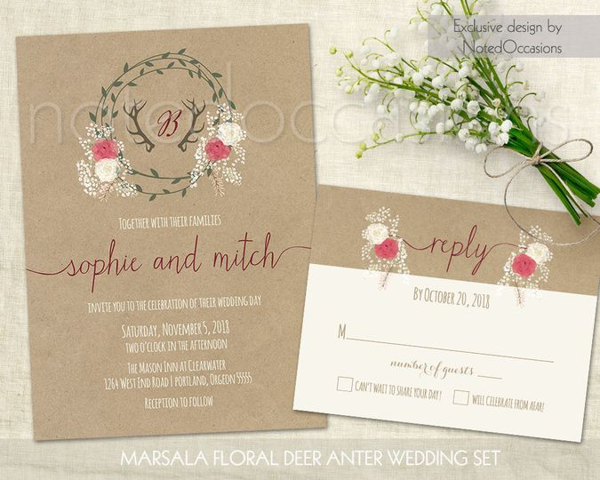 Marsala wedding invitations with a country floral wreath and Rustic deer antlers. Featuring deer...