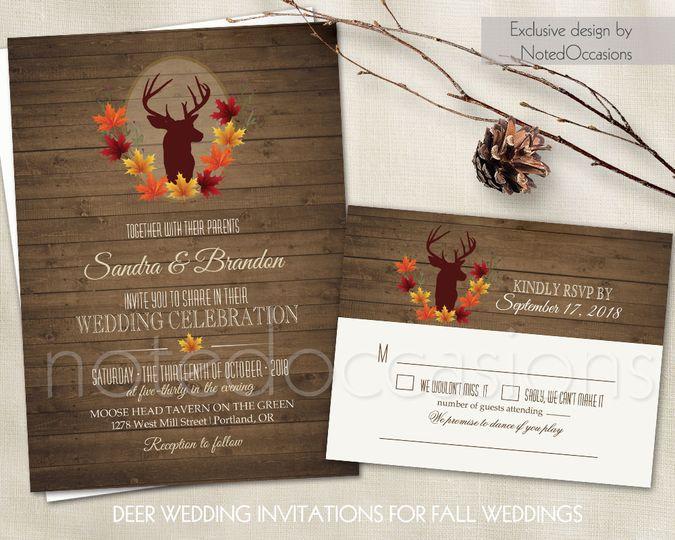 Deer wedding invitations for Fall weddings. Rustic deer and antler silhouette fall wedding...