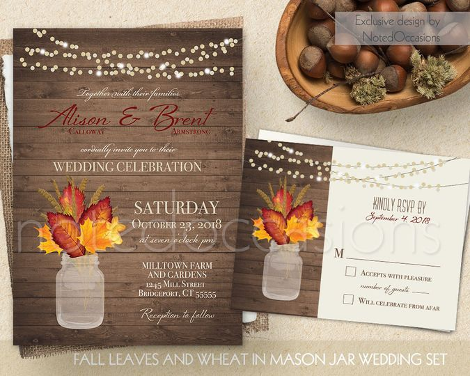 Rustic Fall Wedding Invitation, Rustic wedding invitation, Mason Jar Wedding invitation, Country...