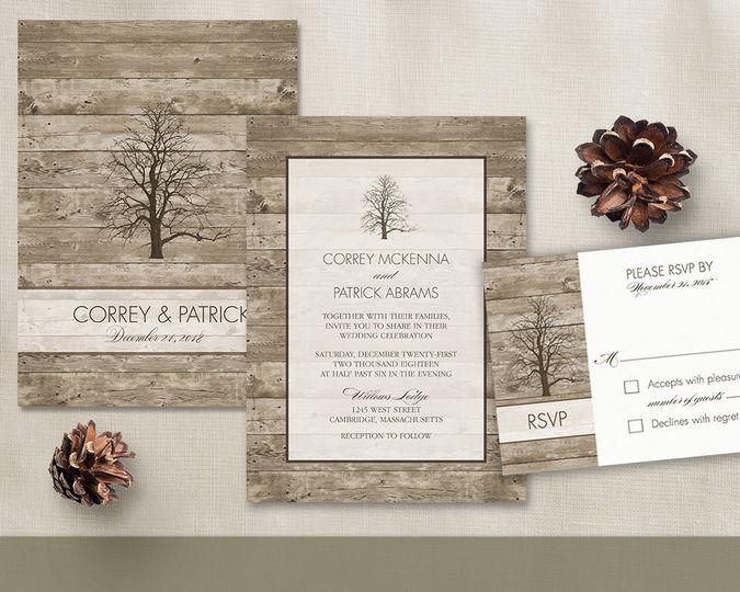 Tree wedding invitation set. Oak tree rustic winter wedding invitations. Tree silhouette winter...