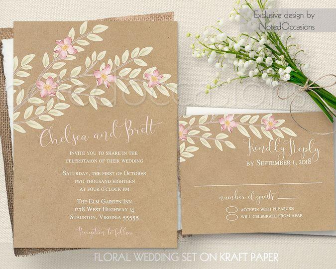 floral tree kraft paper wedding set rustic wedding