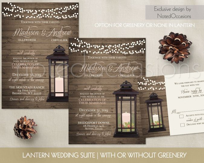 lantern wedding invitations winter wedding