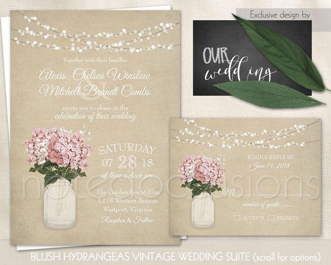 mason jar wedding invitation blush hydrangeas