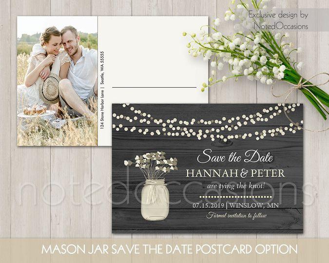 mason jar photo save the date postcard