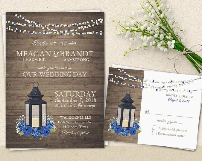 metal lantern wedding invitation royal blue