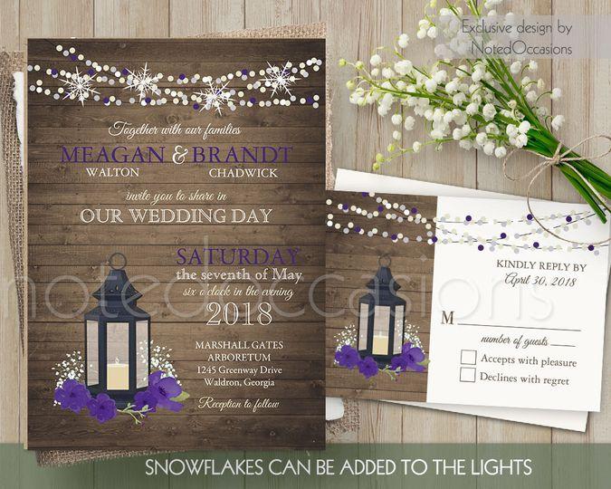 metal lantern wedding invitations for winter purpl
