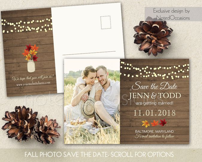 rustic fall wedding save the date photo postcard