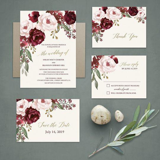 Floral wedding in burgundy