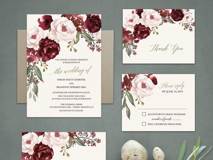 Tmx Burgundy Floral Wedding Invitations 51 181457 1561470802 Friday Harbor, WA wedding invitation