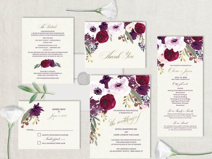 Tmx Purple Plum Floral Wedding Invitation 51 181457 1561470956 Friday Harbor, WA wedding invitation