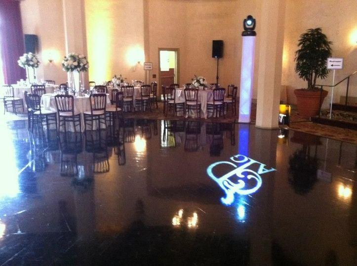 reception set-up and monogram lights