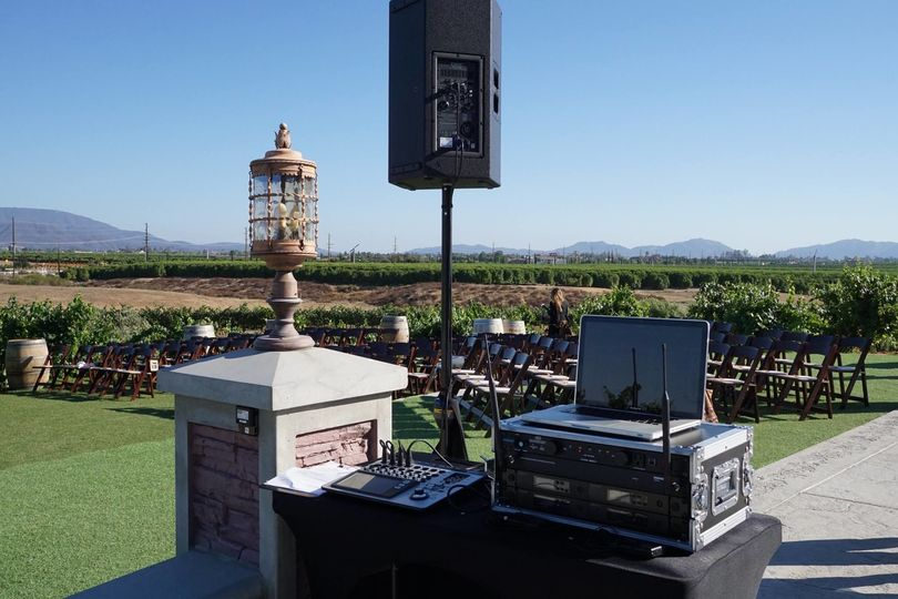 DJ booth and sound system