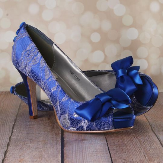 800x800 1455143683704 Royal Blue Peeptoe Wedding Shoes With Silver Lace