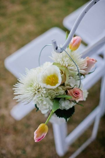 Aisle flowers at ceremony