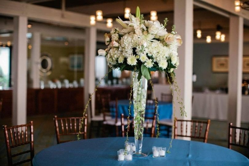 Tall centerpiece at reception
