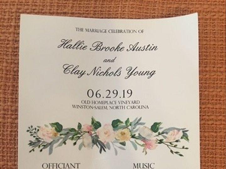 Tmx Wedding Program With Flowers 51 1962457 159037377370941 Greensboro, NC wedding planner