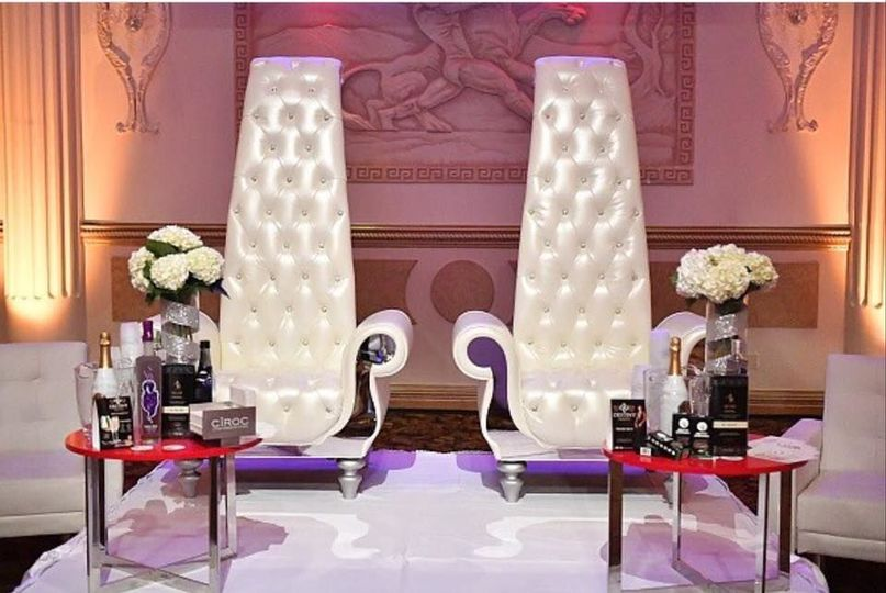 2 Single white throne chairs with mirror sides