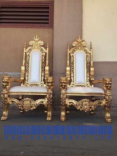 2 Single Gold Throne chairs