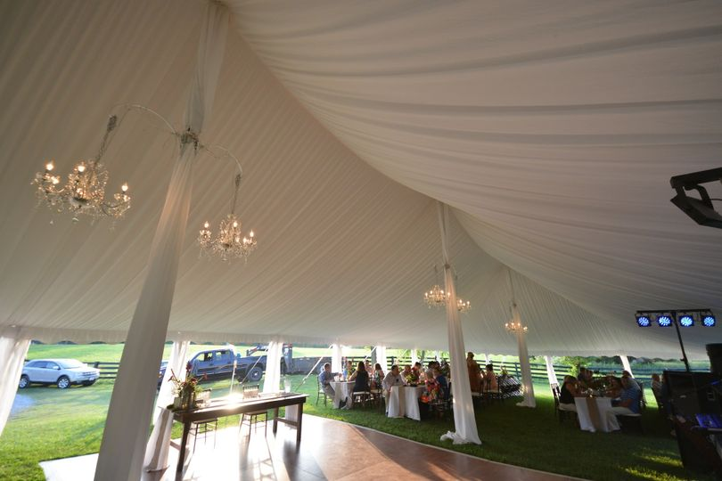 Tent liner, drapes, chandeliers