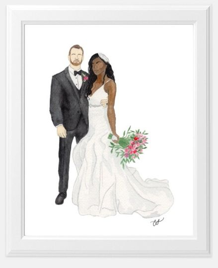 Watercolor Bride and Groom