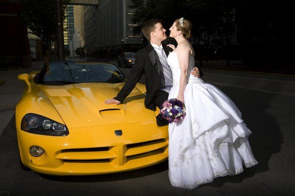 A special surprise for the groom - his favorite car for the ride to the reception.